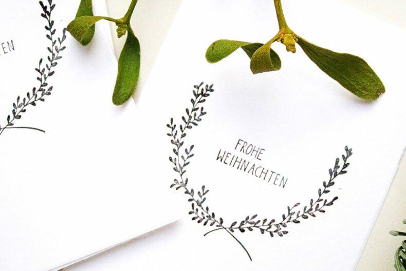 Weihnachtskarten Frohe Weihnachten, gestempelt