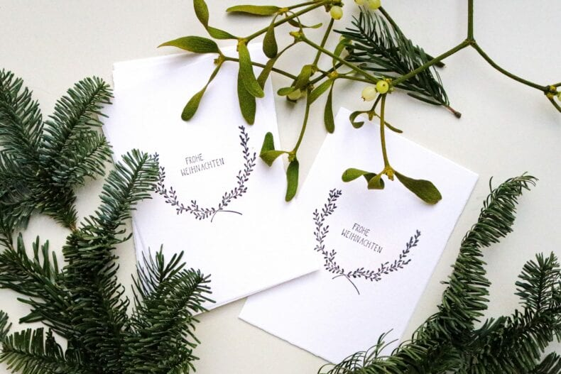 Weihnachtskarte gestempelt, Frohe Weihnachten STUDIO KARAMELO