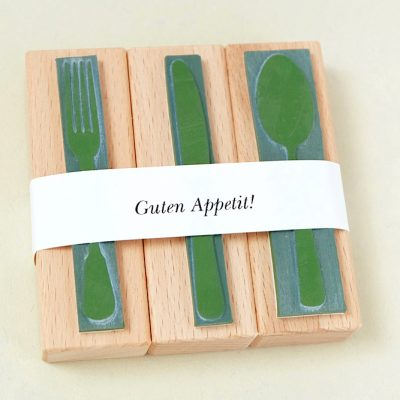 Küchenstempel, Stempel-Set Besteck | rubber stamp set cutlery