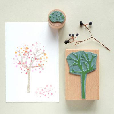 Stempel Zackenbaum mit Pünktchen | rubber stamp spiky tree with dots
