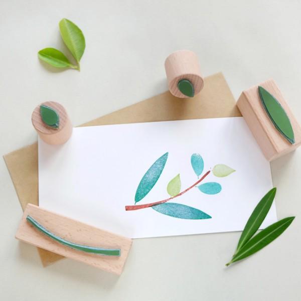 Stempel-Set Zweig mit Blättern | rubber stamp set branch with leaves