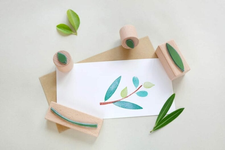 Stempel-Set Zweig mit Blättern | rubber stamp set branch with leaves