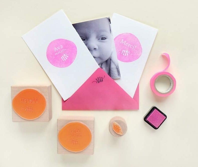 Stempel zur Geburt   birth announcement rubber stamp